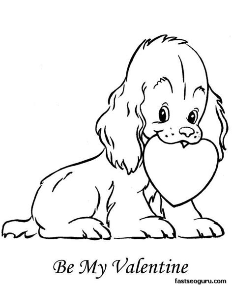 valentines day coloring pages with dogs printable happy valentine dog with heart coloring pages