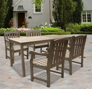 Wooden Patio Dining Sets Renaissance 5 Outdoor Wood Patio Dining Set