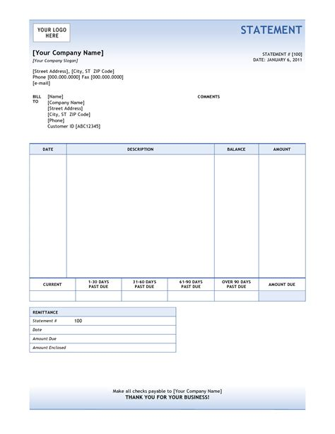 template invoice statement billing statement template monthly billing statement