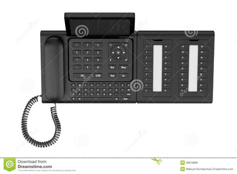 free desk phone top view of modern office desk phone isolated on white