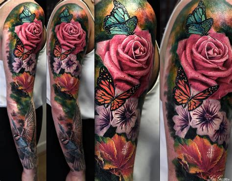flower sleeve tattoo im not into color on myself but this is gorgeous