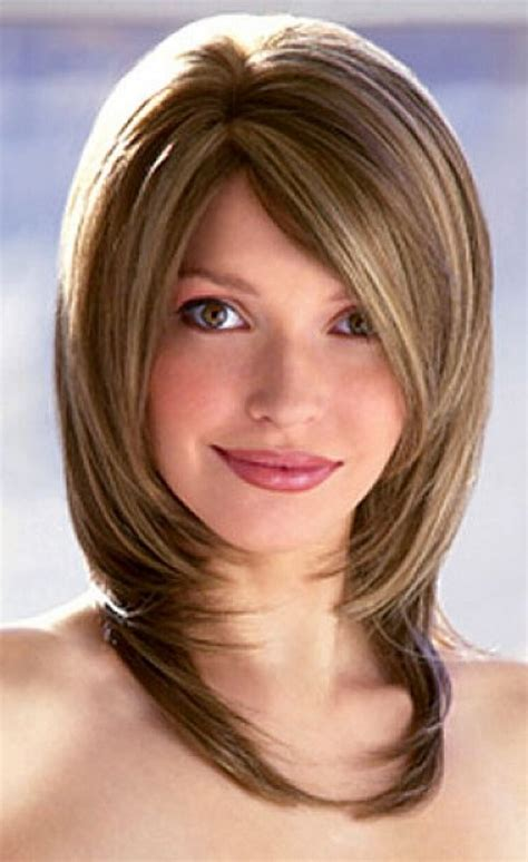medium layered bob haircut with bangs haircuts models ideas