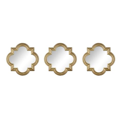 3 pc mirror set gold quatrefoil
