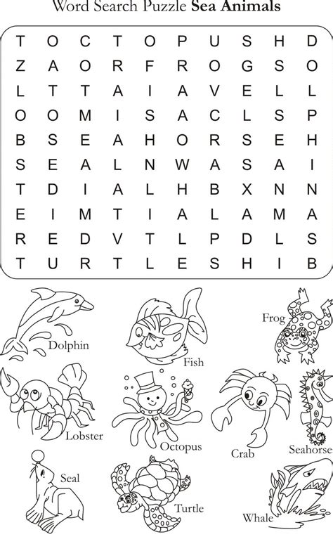 printable under the sea word search word search puzzle sea animals learning for kids