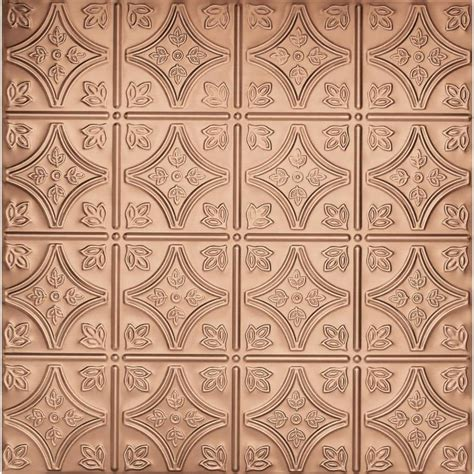 copper ceiling tiles shop armstrong metallaire copper patterned 15 16 in drop panel ceiling tiles common 24 in x 24