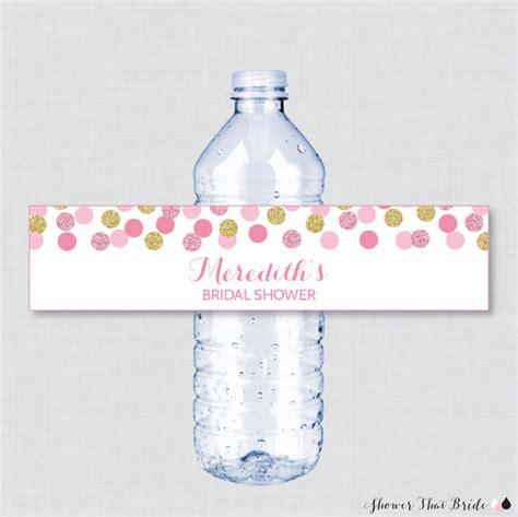 free printable bridal shower water bottle labels pink and gold bridal shower printable water bottle labels
