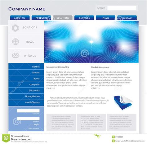 simple page template simple website template stock images image 31709384