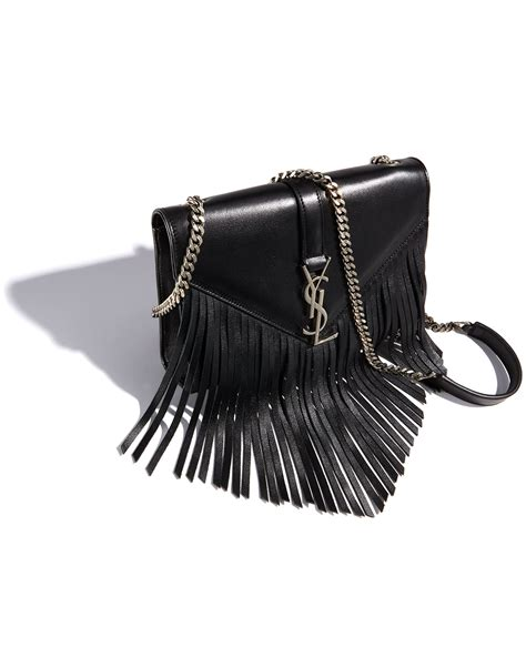 lyst saint laurent monogram small fringe shoulder bag