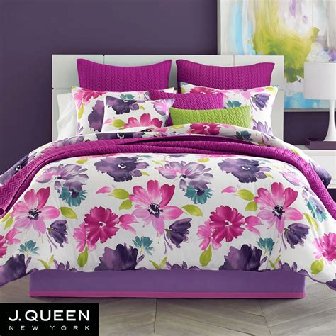 Flowered Comforters by Midori Fuchsia Floral Comforter Bedding From J By J