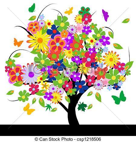 fiori illustrazioni astratto fiori albero astratto vettore albero fiori