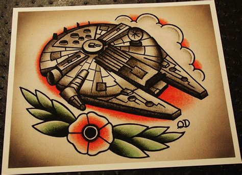 millennium falcon tattoo millennium falcon print by parlortattooprints