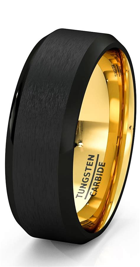 Black Wedding Bands by Mens Wedding Band Black Gold Tungsten Ring Brushed Surface