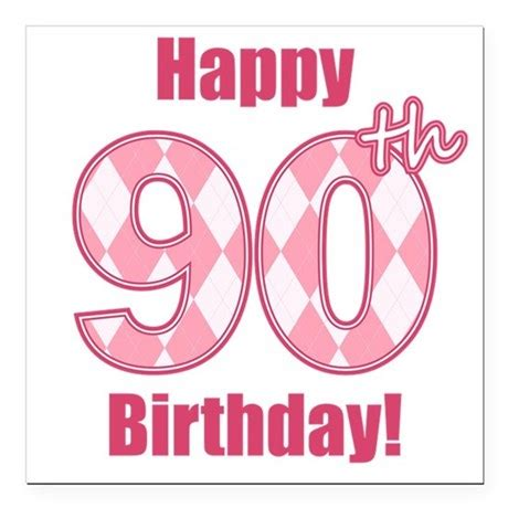 happy 90th birthday pink argyle square car magne by