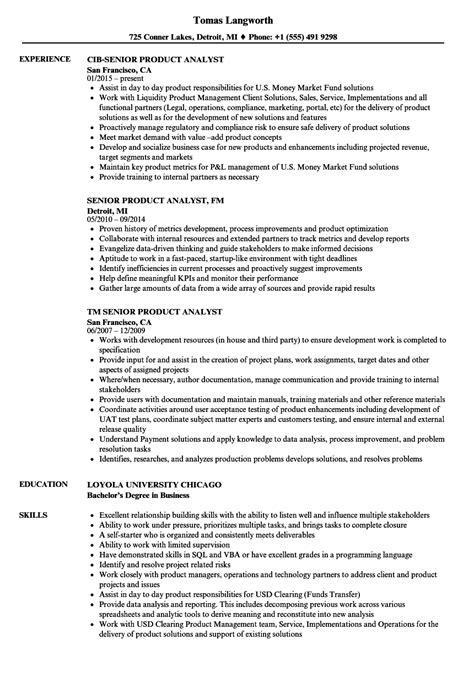 Product Analyst Sle Resume by Senior Product Analyst Resume Sles Velvet