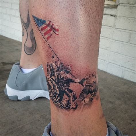 iwo jima tattoo iwo jima colored flag veteran ink