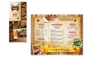 steakhouse bbq restaurant take out brochure template word publisher