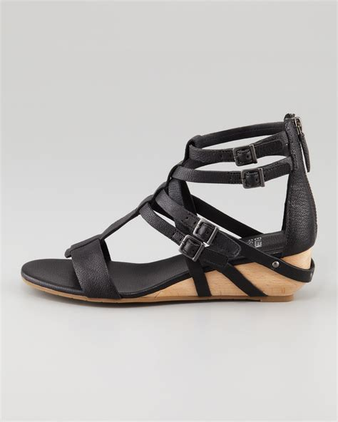 wedge gladiator sandals eileen fisher low wedge gladiator sandal in black lyst