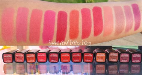12 maybelline color show matte lipcolor swatches