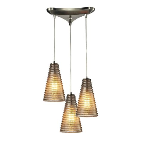 Elk 10333 3 Ribbed Glass Modern Satin Nickel Multi Hanging Modern Hanging Pendant Lights