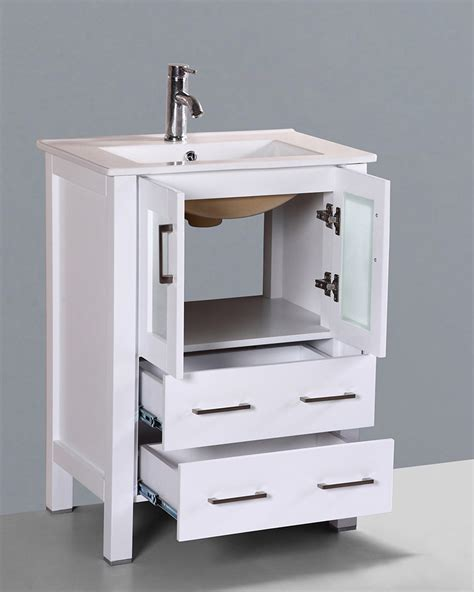 White Single Bathroom Vanity White 24in Integrated Sink Single Vanity By Bosconi Boaw124u