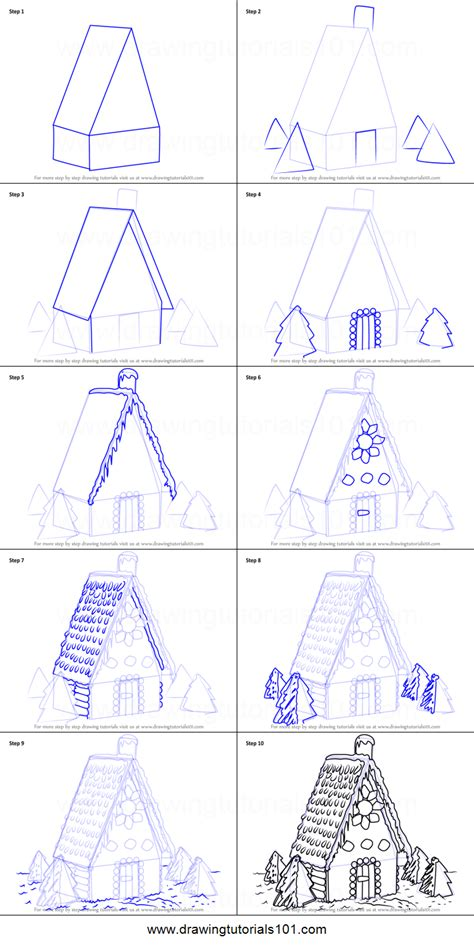how to draw a house step by step for beginners youtube how to draw gingerbread house printable step by step