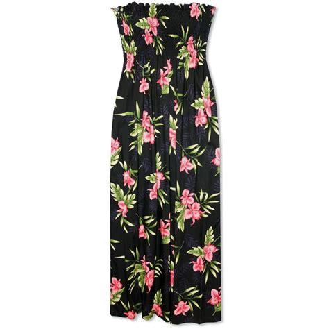 2082 Maxi Hana Pink Fit L midnight black hana aloha hawaiian dress lavahut