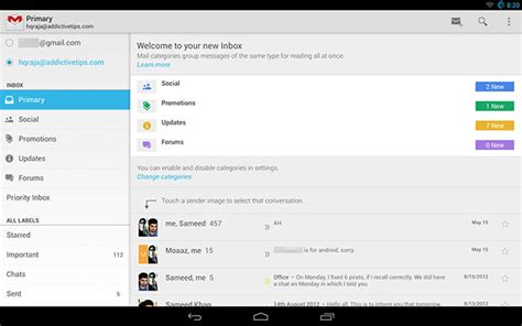 gmail update apk gmail for android v4 5 apk with new tabbed inbox more