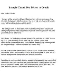 Thank You Letter To Coach Sle Thank You Letters To Coach 6 Exles In Word Pdf