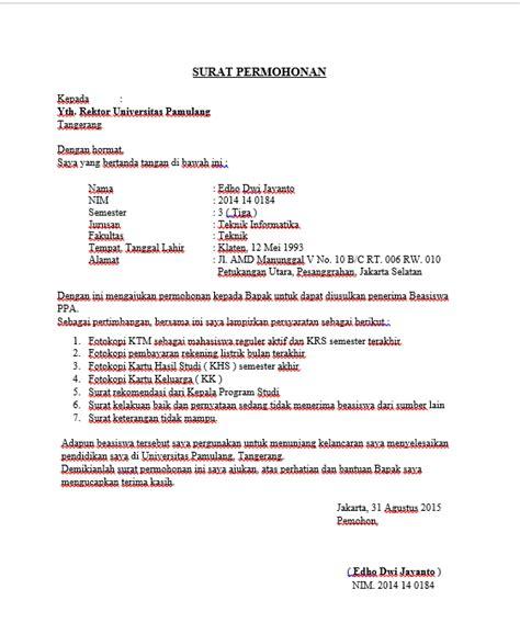 info 6 contoh surat permohonan beasiswa terbaik dibuka info