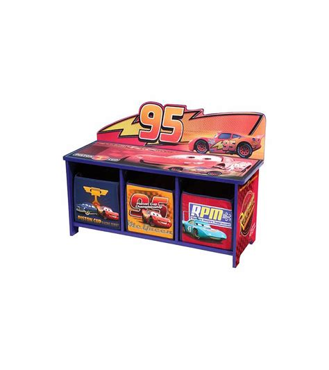 cars storage bench disney cars toy bench with back and 3 bins
