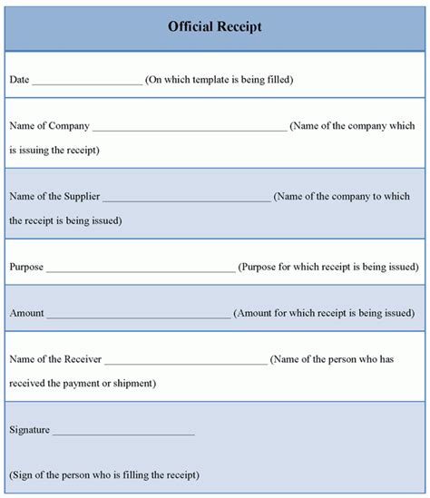 official receipt template format format of official