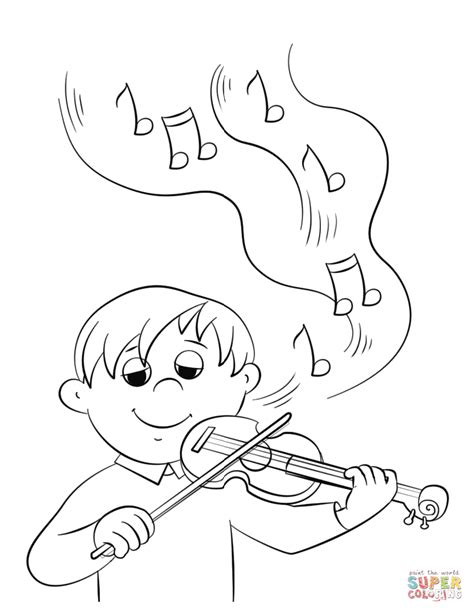playing violin coloring page cute boy playing violin coloring page free printable