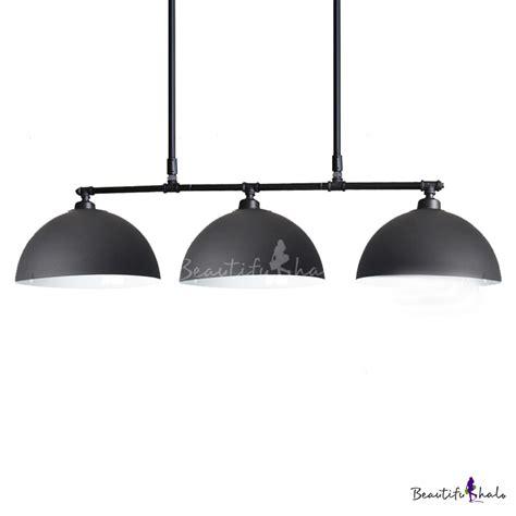 Black Island Light Industrial 3 Light Island Lighting With Black Dome Shade Beautifulhalo
