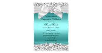 silver teal glitter bow quinceanera 13 cm x 18 cm invitation card zazzle