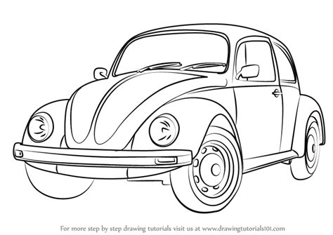 volkswagen bug drawing step by step how to draw vintage volkswagen beetle