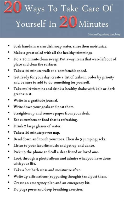Section 20 Care Order by 20 Ways To Take Care Of Yourself In 20 Minutes