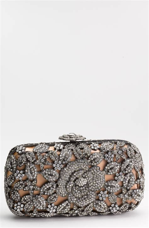 Clutch Color List couture caged floral clutch in silver
