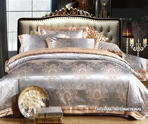 embroidered jacquard comforter satin bedding set queen