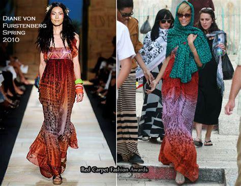 Catwalk To Carpet Beckham In Diane Furstenberg by Runway To Tel Aviv Rihanna In Diane Furstenberg