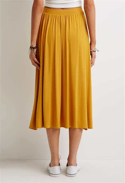 forever 21 stretch knit a line skirt in yellow lyst