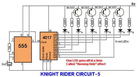 bi colour led running lights circuit diagram world 4017 led knight rider running light circuit diagram