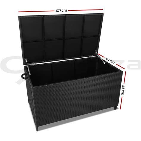 black wicker outdoor storage bench 320l outdoor storage box rattan sturdy bench pe wicker