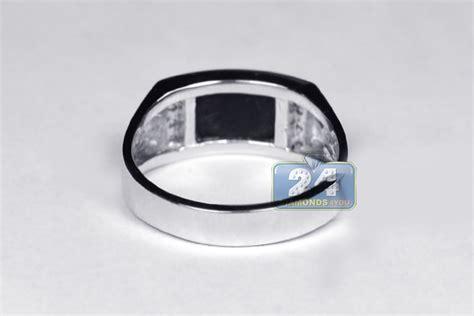 mens 0 12 ct black onyx rectangular ring 18k white