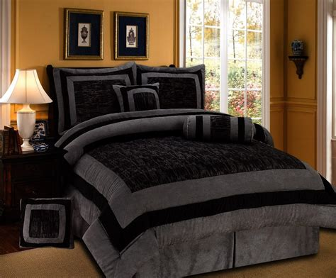 7 pieces black and grey micro suede comforter set bed in a bag size bedding