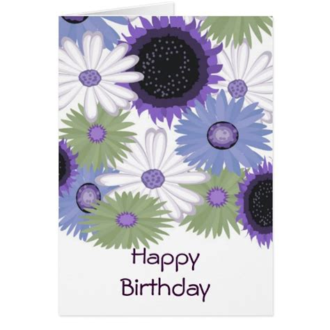 Birthday Digital Cards Bright Digital Flowers Happy Birthday Card Zazzle