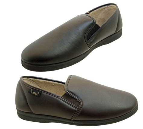 mens leather slippers with soles dr keller mens faux leather gusset slippers