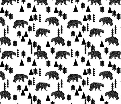 black and white home decor fabric bear forest black and white kids nursery trend baby