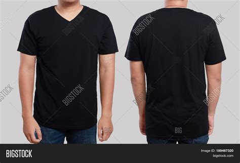 template t shirt with model black t shirt mock front back view image photo bigstock