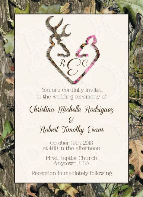 Camo Deer Hearts Wedding Invitation And Rsvp Card By Mrsprint Wedding Ideas Pinterest You Camouflage Wedding Invitations Templates