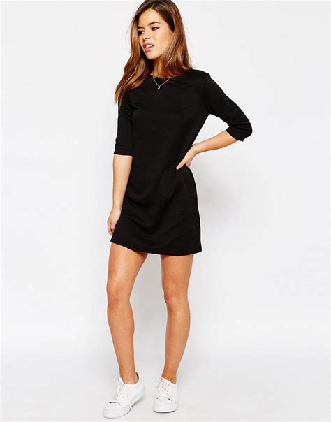 Dress Jumbo asos asos shift dress in jumbo rib with 3 4 sleeves at asos